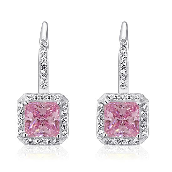 1.5 Ct Fancy Pink Created Diamond 925 Sterling Silver Fashion Bridesmaid Earrings 1