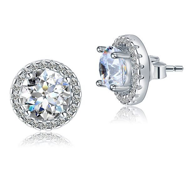 2.5 Carat Halo (Removable) Stud Earrings 925 Sterling Silver Jewellery 1