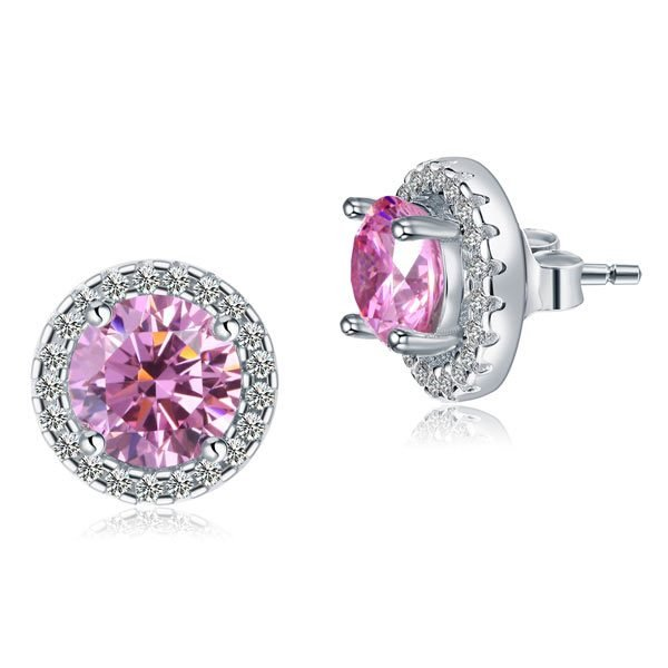 2.5 Carat Round Pink Halo (Removable) Stud 925 Sterling Silver Earrings 1