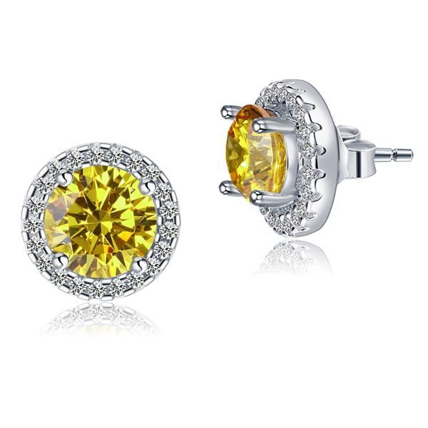 2.5 Carat Round Fancy Yellow Halo (Removable) Stud 925 Sterling Silver Earrings 1