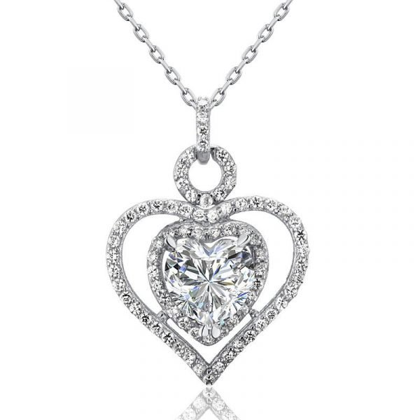 3 Carat Created Diamond 925 Sterling Silver Heart Pendant Necklace 1