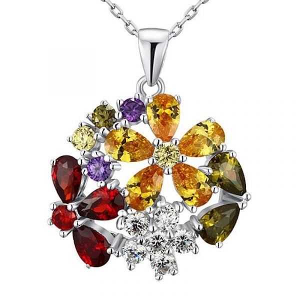 3.5 Carat Multi-Color Created Topaz Flower 925 Sterling Silver Pendant Necklace 1