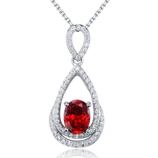 2 Carat Oval Cut Red Created Ruby Sterling 925 Silver Pendant Necklace 1