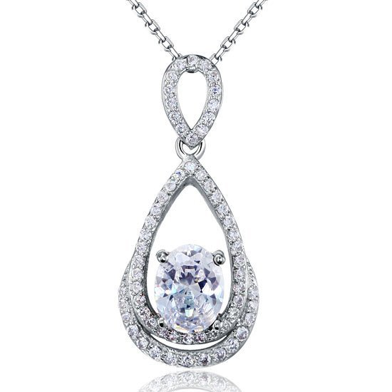 2 Carat Oval Cut Created Diamond Sterling 925 Silver Pendant Necklace 1