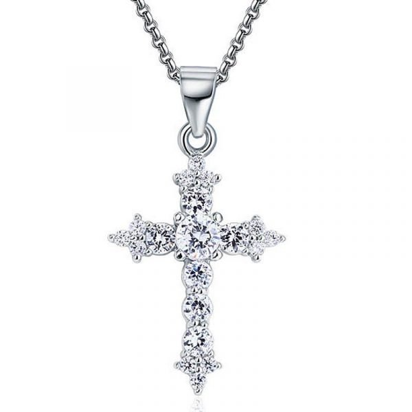 Round Cut Created Diamond 925 Sterling Silver Cross Pendant Necklace 1