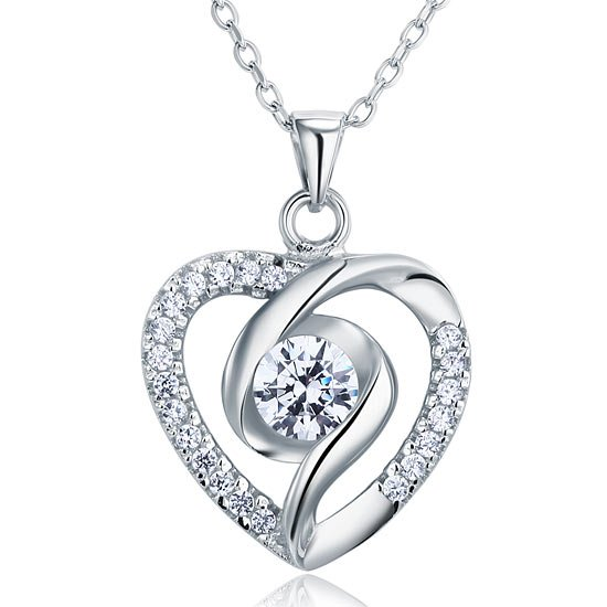 Created Diamond Heart 925 Sterling Silver Pendant Necklace 1