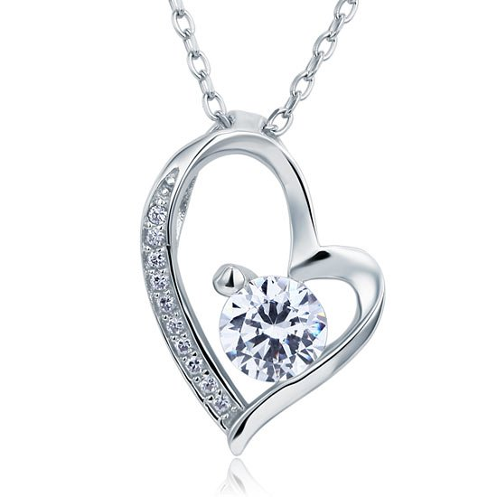 1 Carat Created Diamond Heart 925 Sterling Silver Pendant Necklace 1