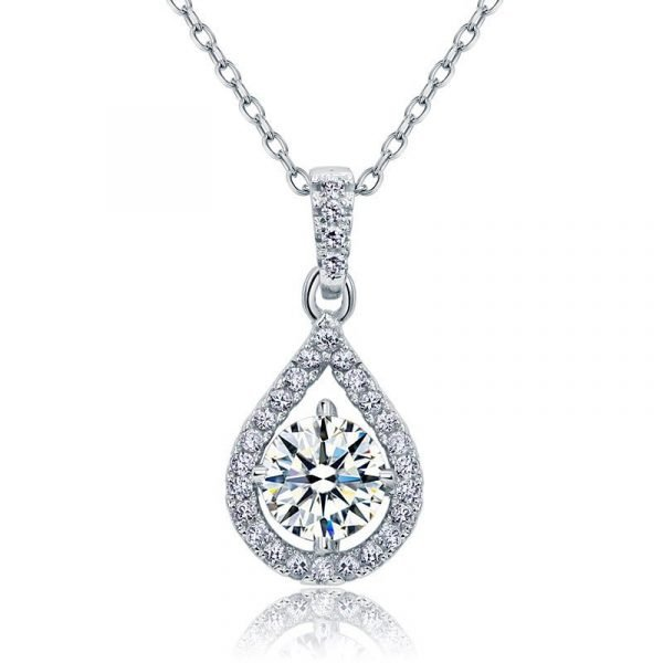 1 Carat Round Cut Created Diamond Bridal 925 Sterling Silver Pendant Necklace 1