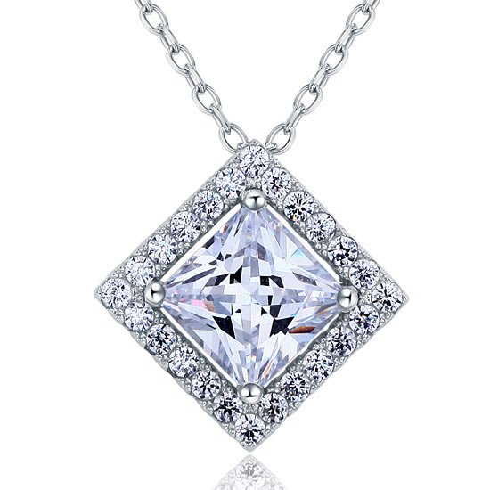 1.5 Carat Princess Cut Created Diamond 925 Sterling Silver Pendant Necklace 1