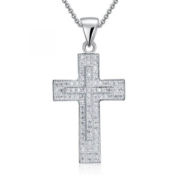 Micro Setting Cubic Zirconia 925 Sterling Silver Cross Pendant Necklace 1