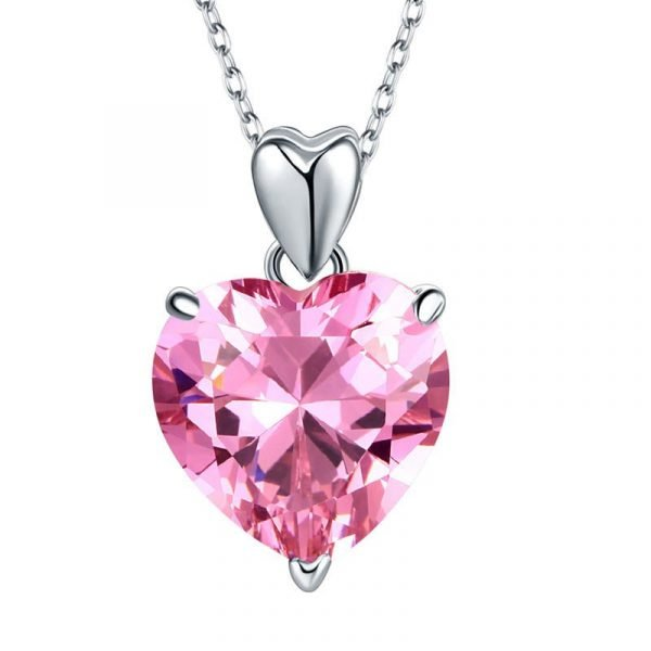 925 Sterling Silver Bridesmaid Heart Pendant Necklace 5 Carat Pink Bridal Jewellery 1
