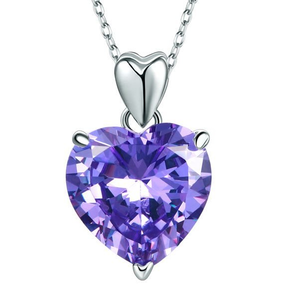 925 Sterling Silver Heart Pendant Necklace 5 Carat Purple Bridal Jewellery 1