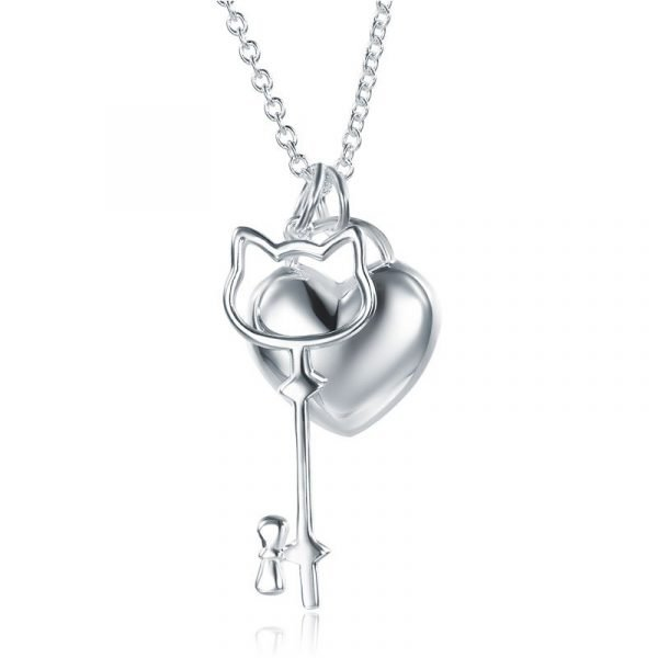 Kids Girl Heart Key Pendant Necklace 925 Sterling Silver Children Jewellery 1