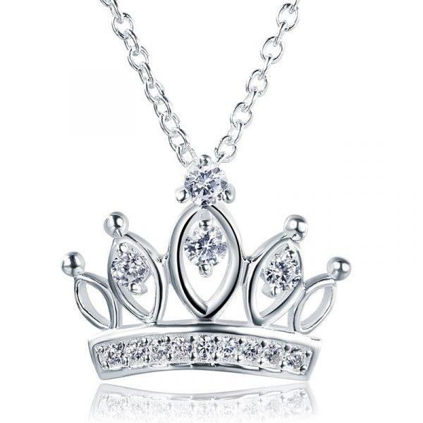 Kids Girl Crown Pendant Necklace 925 Sterling Silver Children Jewellery 1