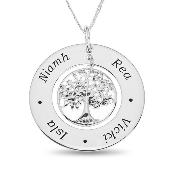 "Sterling Silver Family Tree Pendant on 18"" Chain Personalised With 4 Names 1"