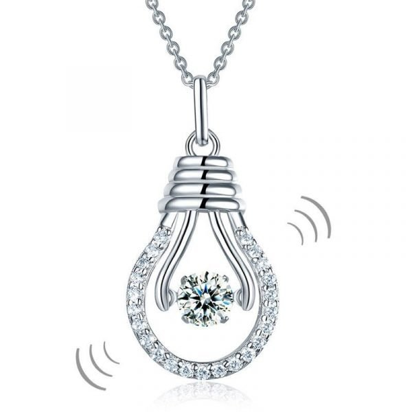 Dancing Stone Bulb Pendant Necklace 925 Sterling Silver 1