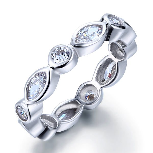 Marquise Solid 925 Sterling Silver Ring Eternity Band Wedding 1