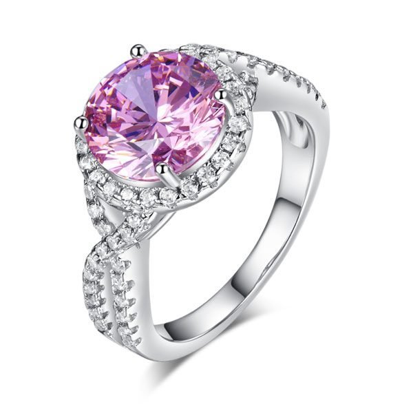 3 Carat Fancy Pink Created Diamond 925 Sterling Silver Wedding Engagement Luxury Ring Promise Anniversary 1