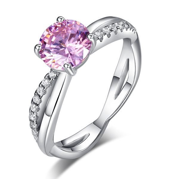 Sterling Silver Wedding Promise Anniversary Ring 1.25 Ct Fancy Pink Created Diamond 1
