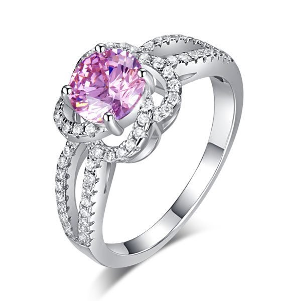 Floral 925 Sterling Silver Wedding Promise Anniversary Ring 1 Ct Fancy Pink Created Diamond Jewellery 1