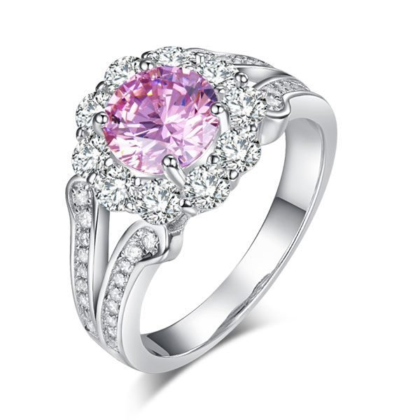 Art Deco Vintage style 925 Sterling Silver Wedding Ring 1.25 Ct Fancy Pink Created Diamond Promise Anniversary 1