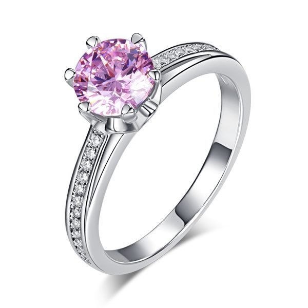6 Claws 925 Sterling Silver Wedding Promise Anniversary Ring 1.25 Ct Fancy Pink Created Diamond Jewellery 1