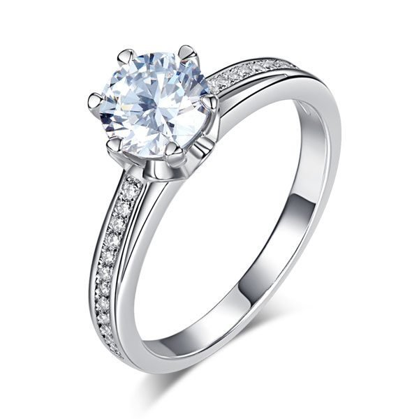 6 Claws 925 Sterling Silver Wedding Promise Engagement Ring 1.25 Ct Created Diamond Jewellery 1