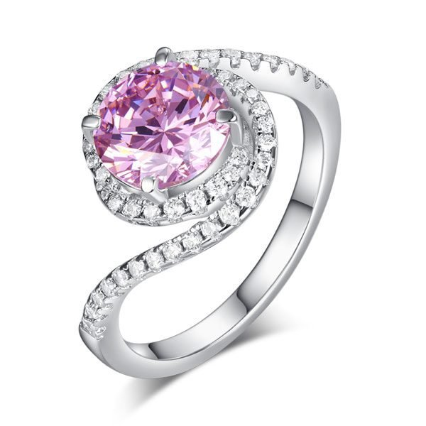 Twist Curl 925 Sterling Silver Wedding Engagement Ring 2 Ct Fancy Pink Created Diamond Promise Anniversary 1