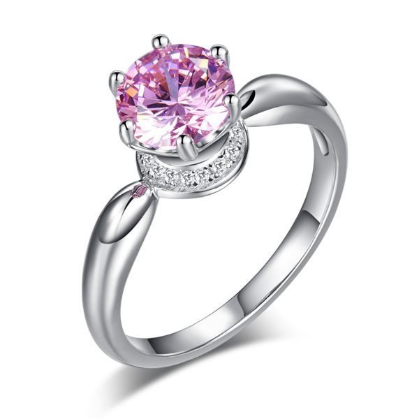 6 Claws Crown 925 Sterling Silver Wedding Promise Anniversary Ring 1.25 Ct Fancy Pink Created Diamond Jewellery 1