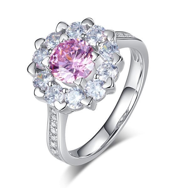 Snowflake 925 Sterling Silver Wedding Promise Anniversary Ring 1 Ct Fancy Pink Created Diamond 1