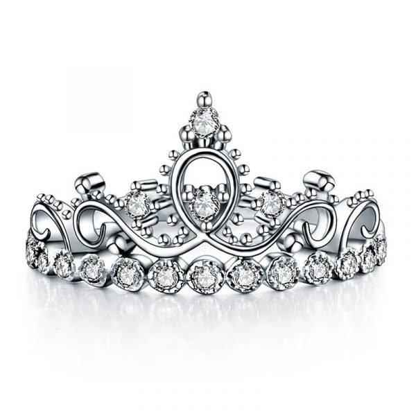 Solid 925 Sterling Silver Ring Crown Shape Lab Created Diamond for Lady Trendy Stylish 1