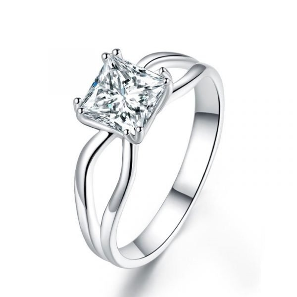 Princess Cut 1 Ct Solid 925 Sterling Silver Ring Promise Anniversary Engagement Wedding Jewellery 1