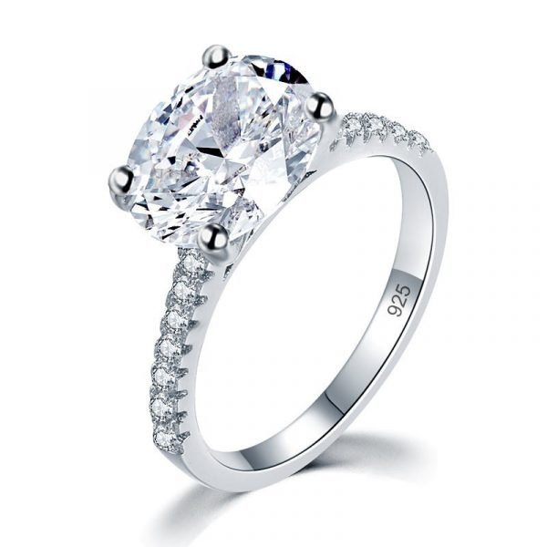 Solid 925 Sterling Silver 4 Carat Wedding Anniversary Ring Oval Cut Luxury Jewellery 1