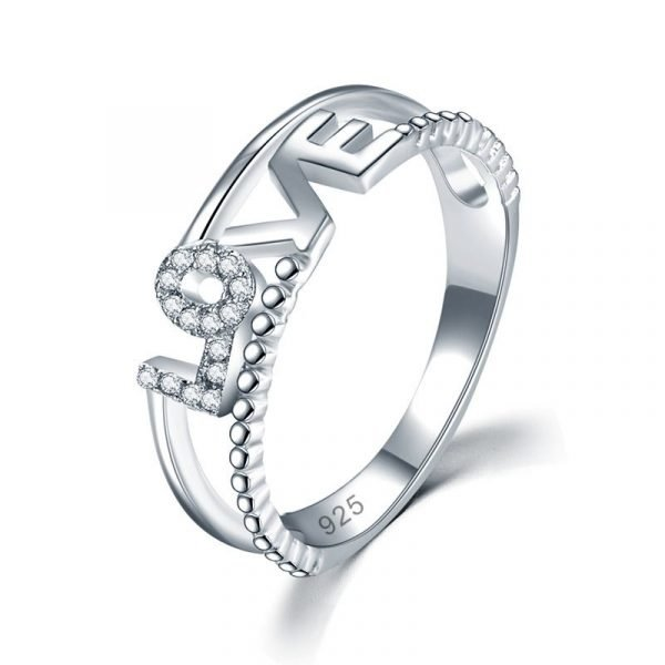 Solid 925 Sterling Silver Ring Band Fashion LOVE 1