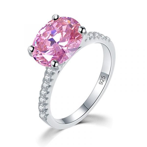 Solid 925 Sterling Silver 4 Carat Anniversary Ring Fancy Pink Oval Cut Luxury Jewellery 1