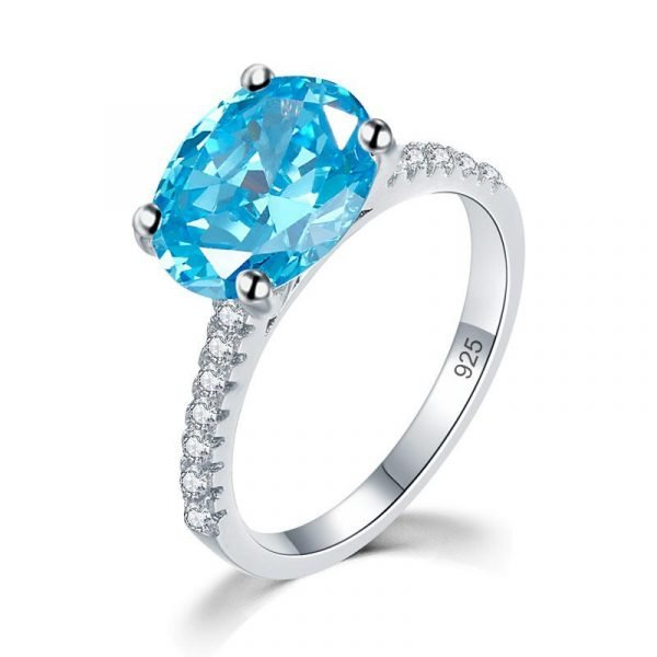 Solid 925 Sterling Silver 4 Carat Anniversary Ring Blue Oval Party Luxury Jewellery 1