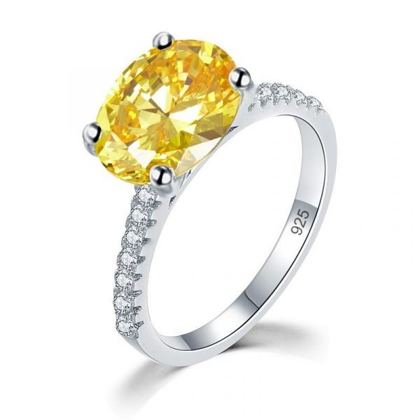 Solid 925 Sterling Silver 4 Carat Anniversary Luxury Ring Yellow Canary Oval Party Jewellery 1