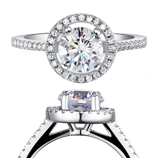 1.25 Carat Round Cut Created Diamond 925 Sterling Silver Wedding Engagement Ring 1