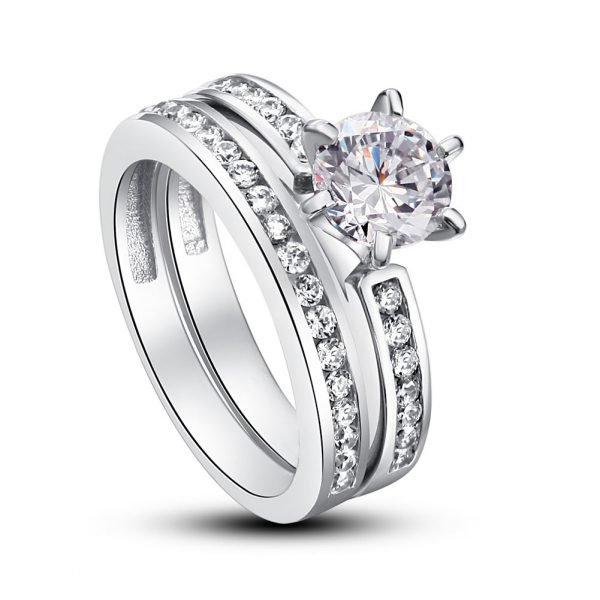 1 Carat Round Cut Created Diamond 925 Sterling Silver 2-Pc Wedding Engagement Ring Set 1