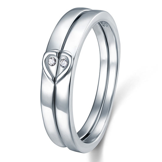 Heart Created Diamond 2-Pc Solid Sterling 925 Silver Wedding Ring Set 1