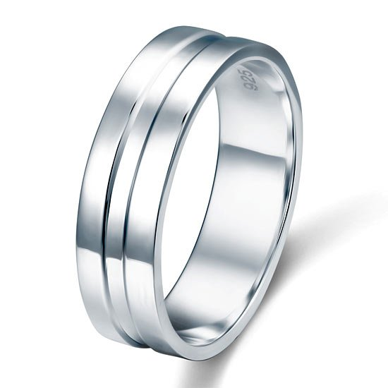 High Polished Plain Men's Solid Sterling 925 Silver Wedding Band Ring 1