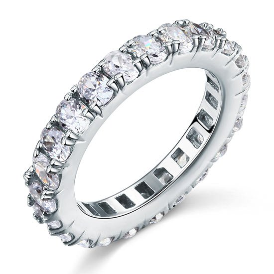 Oval Cut Eternity Solid Sterling 925 Silver Created Diamond Ring 1