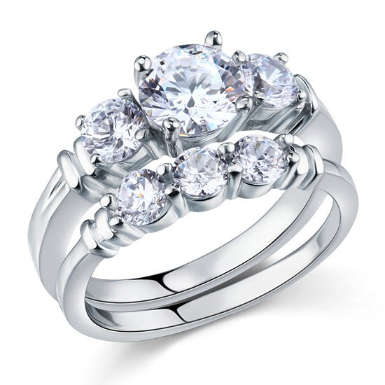 Created Diamond 2 Pc Solid Sterling 925 Silver Ring Set 1