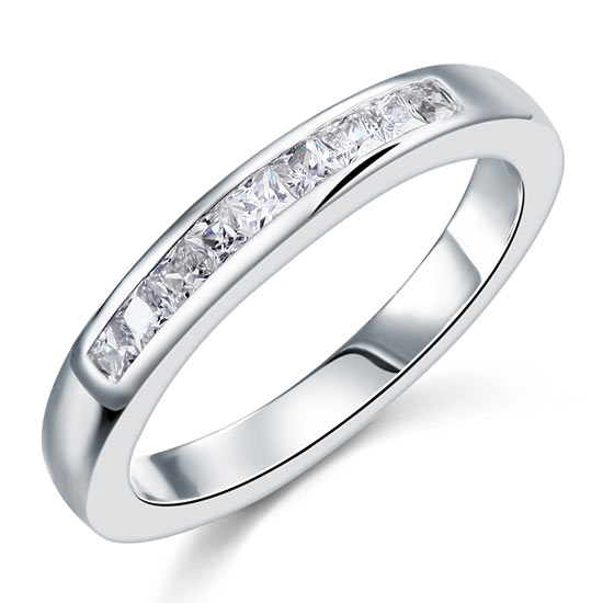 Channel Set Princess Cut Solid Sterling 925 Silver Ring 1
