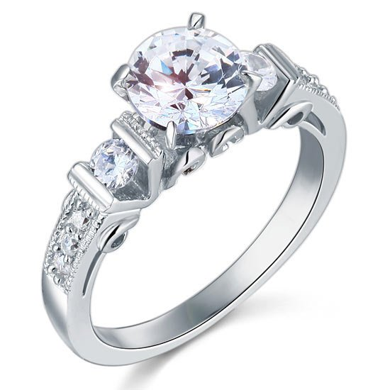 Vintage Style 1.25 Carat Created Diamond Solid 925 Sterling Silver Wedding Engagement Ring 1