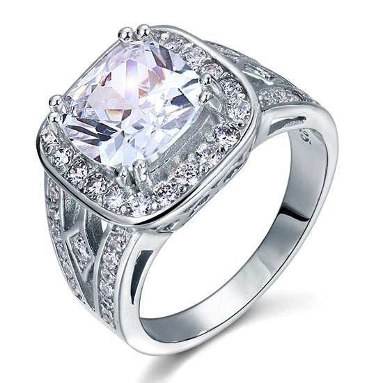 Art Deco Vintage Style 4 Carat Cushion Created Diamond Solid 925 Sterling Silver Wedding Engagement Ring 1