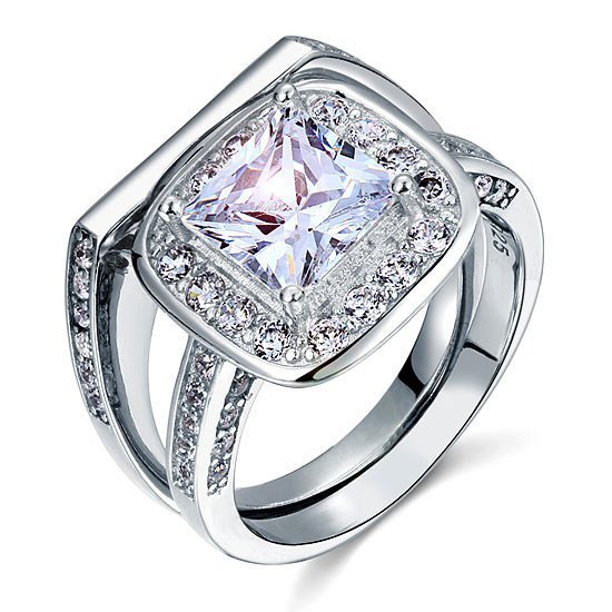 Vintage Style 2 Carat Created Diamond Solid Sterling 925 Silver 2 Pc Bridal Wedding Engagement Ring Set 1