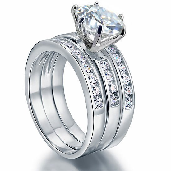 2 Ct Created Diamond 925 Sterling Silver Wedding Engagement Ring Set 3-Pcs 1