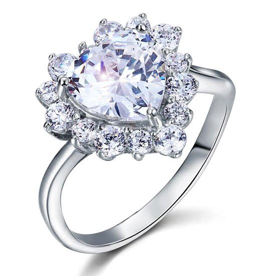 2.5 Carat Heart Cut 925 Sterling Silver Wedding Promise Engagement Ring 1