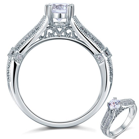 Vintage Style 1 Carat Created Diamond Solid 925 Sterling Silver Bridal Wedding Engagement Ring 1